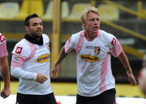 Palermo's Simon Kjaer of Denmark, right, celebrates after scoring during the Italian Serie A soccer match between Bologna and Palermo played in Bologna's Renato Dall'Ara stadium, Italy, Sunday Nov. 8, 2009. (AP Photo/Gianfilippo Oggioni)